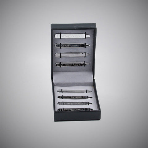 Silver Chrome Finish Stainless Steel 8 Piece Collar Stay Box Set - justwhiteshirts