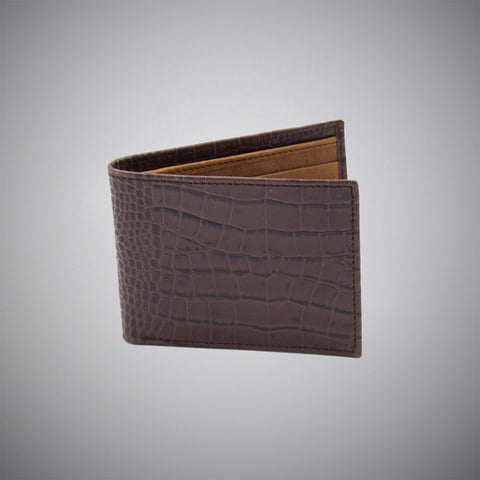 Chocolate Crocodile Embossed Calf Leather Wallet With Tan Suede Interior - justwhiteshirts