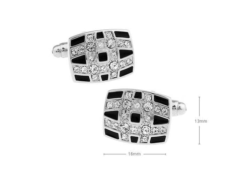 BLACK WITH STUDDED CRYSTALS CHECKS CUFFLINKS - Just White Shirts