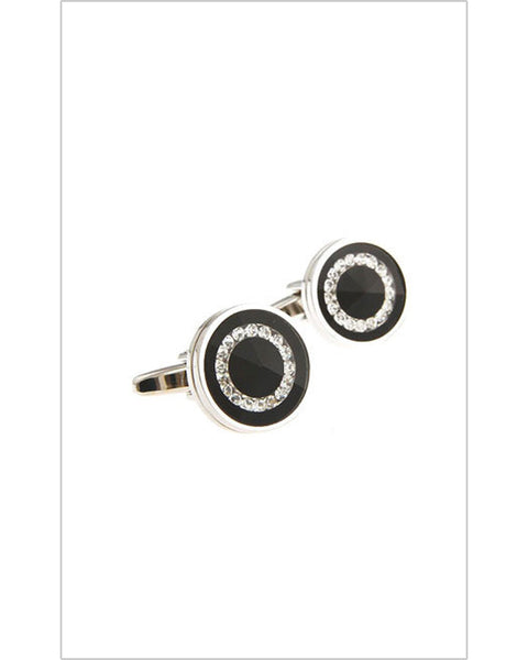 Black with Studded Crystals Cufflinks
