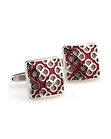 FUSCHIA FLORAL ENAMEL SQUARE CUFFLINKS - Just White Shirts