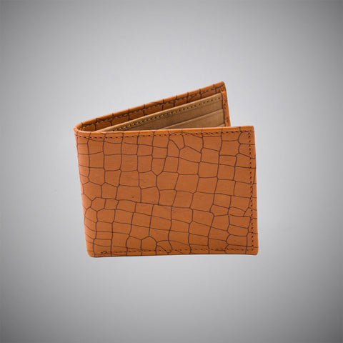 Cognac Embossed Calf Leather Wallet With Tan Suede Interior - justwhiteshirts
