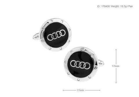 Black & Silver Audi Novelty Cufflinks For Mens - justwhiteshirts