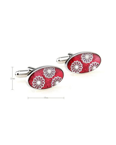 PINK FLORAL ENAMEL CUFFLINKS - Just White Shirts