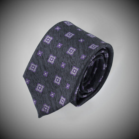 Grey Ground With Square Purple Medallions Woven Silk Tie - justwhiteshirts