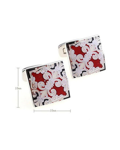 RED ENAMEL PATTERN SQUARE CUFFLINKS - Just White Shirts