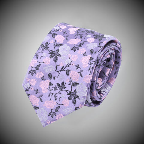 Lavander Ground With Pink White Floral Pattern Woven Silk Tie - justwhiteshirts