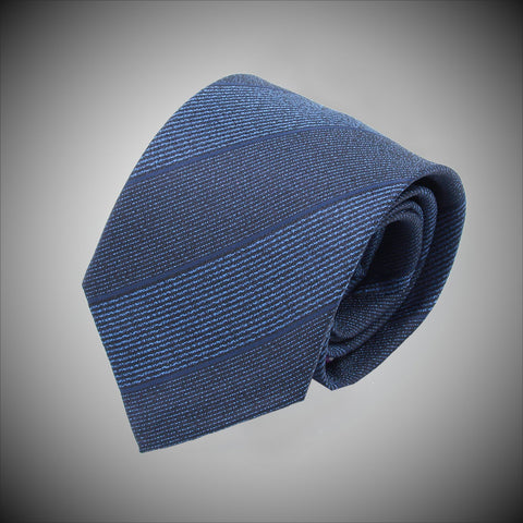 Multi Blue Textured Stripe Woven Silk Tie - justwhiteshirts
