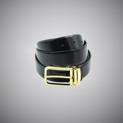 Black Gold Leather Belt - justwhiteshirts