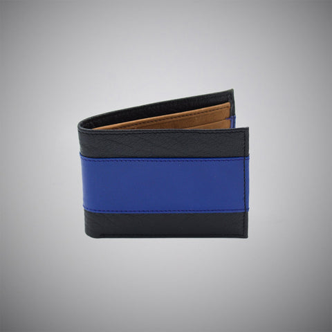 Black And Blue Striped Calf Leather Wallet With Tan Suede Interior - justwhiteshirts