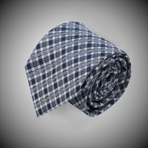 Navy White Textured Check Pattern Woven Silk Tie - justwhiteshirts