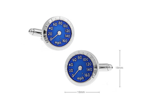 BLUE SPEEDOMETER CUFFLINKS - Just White Shirts