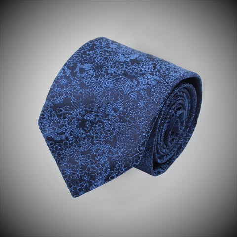 Navy Ground With Blue Floral Pattern Woven Silk Tie - justwhiteshirts