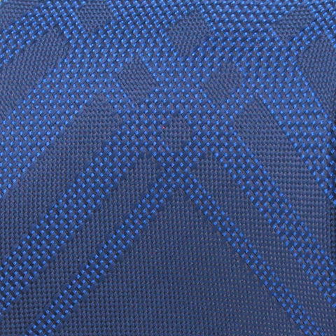 Navy Ground With Blue Grid Pattern Woven Silk Tie - justwhiteshirts