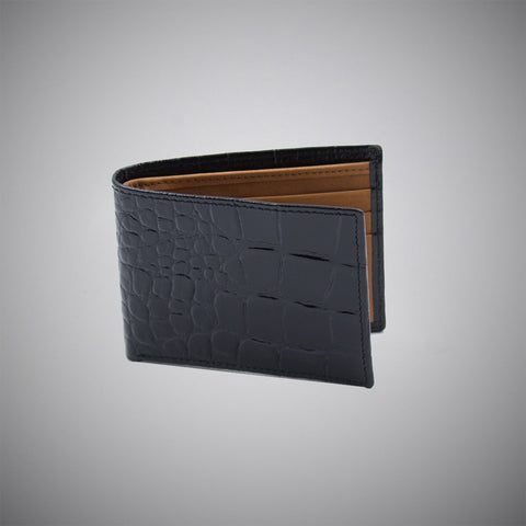High Gloss Black Crocodile Embossed Calf Leather Wallet With Tan Suede Interior - justwhiteshirts