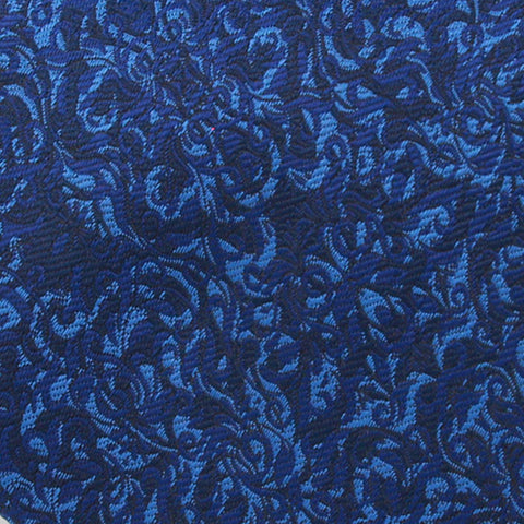 Navy Ground With Blue Leaf Pattern Woven Silk Tie - justwhiteshirts