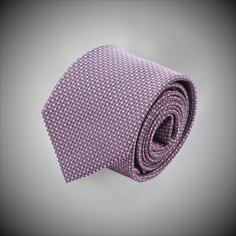 Pink Dots On Charcoal Ground Woven Silk Tie - justwhiteshirts