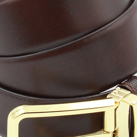 Brown Gold Leather Belt - justwhiteshirts
