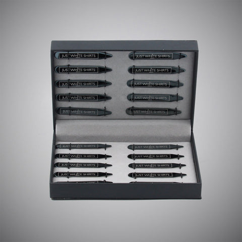 Black Chrome Finish Stainless Steel 20 Piece Collar Stay Box Set - justwhiteshirts