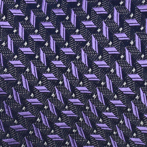 Purple Charcoal Geometric Design Woven Silk Tie - justwhiteshirts
