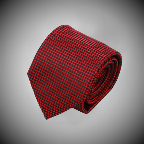 Red Black Neat Pattern Woven Silk Tie - justwhiteshirts