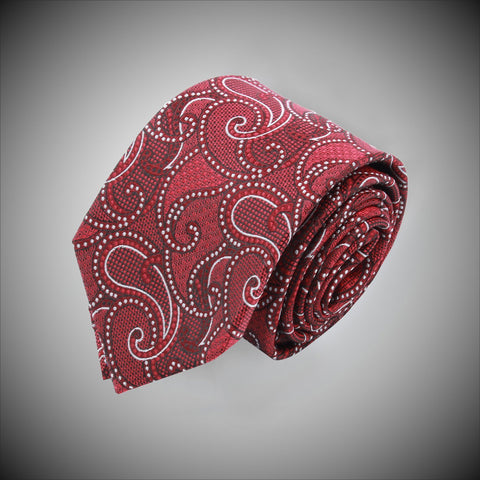Red White Paisley Pattern Woven Silk Tie - justwhiteshirts