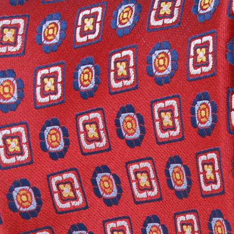 Red Ground With Blue White Medallion Pattern Woven Silk Tie - justwhiteshirts