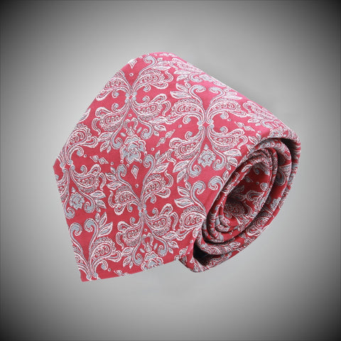 Red Ground With Grey Floral Pattern Woven Silk Tie - justwhiteshirts