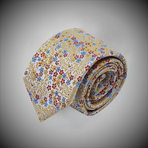 Silver Grey Ground With Red Blue Yellow Floral Pattern Woven Silk Tie - justwhiteshirts