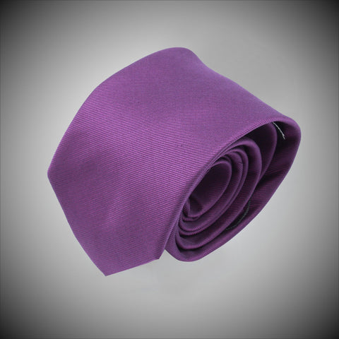 Solid Dark Purple Twill Woven Silk Tie - justwhiteshirts