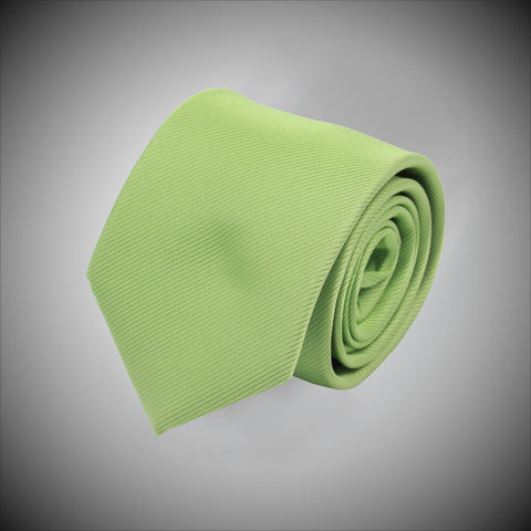 Solid Lime Green Twill Woven Silk Tie - justwhiteshirts