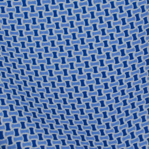 Sky Blue Border With Blue White Neat Pattern Silk Pocket Square - justwhiteshirts