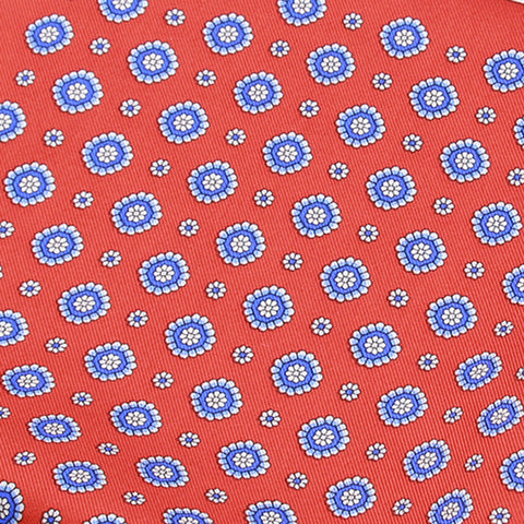 Sky Border With Red Ground And Blue Floral Pattern Silk Pocket Square - justwhiteshirts