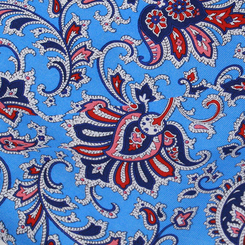 Turquoise Ground With Red Navy Floral Pattern Silk Pocket Square - justwhiteshirts
