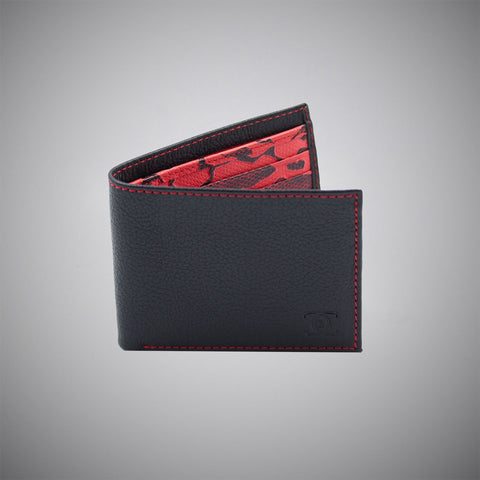 Black Embossed Calf Leather Wallet With Red Stitching And A Red And Black Embossed Leather Interior - justwhiteshirts