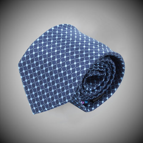 Blue Dots Grid On Navy Ground Woven Silk Tie - justwhiteshirts