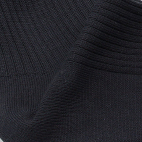 Charcoal Fine-rib Mid-calf Mercerized Cotton Socks