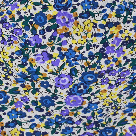 White Ground With Purple Yellow Blue Floral Pattern Silk Pocket Square - justwhiteshirts