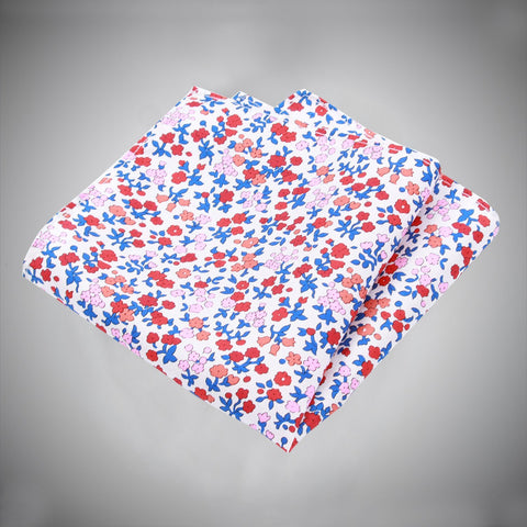 White Ground With Red Pink Blue Floral Pattern Silk Pocket Square - justwhiteshirts