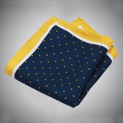 Yellow White Border Navy Ground With Yellow Dots Silk Pocket Square - justwhiteshirts
