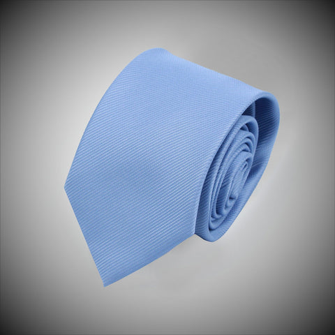 Solid Sky Blue Twill Woven Silk Tie - justwhiteshirts