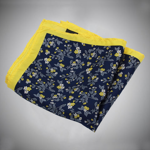 Yellow Border Navy Ground With White Yellow Floral Pattern Silk Pocket Square - justwhiteshirts