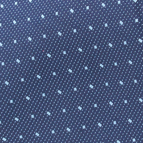 Textured Mid Blue With Sky Dots Woven Silk Tie - justwhiteshirts