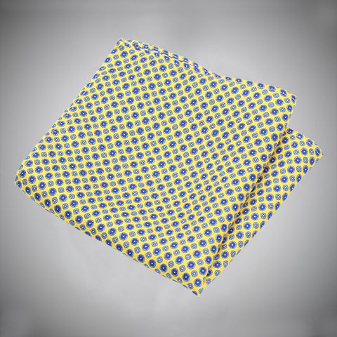Yellow Ground With Blue Floral Pattern Silk Pocket Square - justwhiteshirts