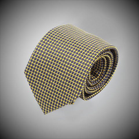 Yellow Dots On Navy Ground Woven Silk Tie - justwhiteshirts