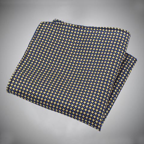Yellow Ground With Blue Neat Pattern Silk Pocket Square - justwhiteshirts