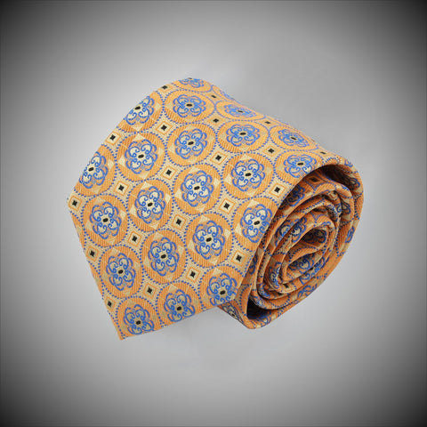 Yellow Ground With Blue Medallions Woven Silk Tie - justwhiteshirts