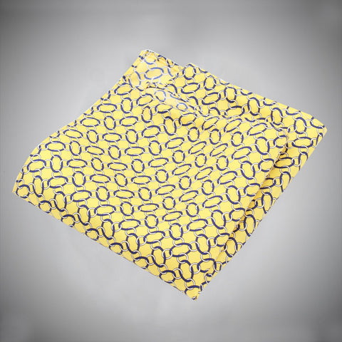Yellow Ground With Navy White Chain-link Pattern Silk Pocket Square - justwhiteshirts