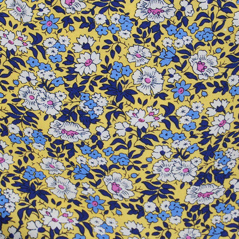 Yellow Ground With White Pink Blue Floral Pattern Silk Pocket Square - justwhiteshirts