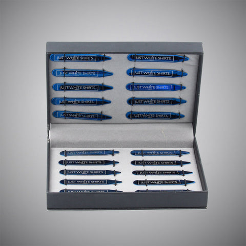 Blue Chrome Stainless Steel 20 Piece Collar Stay Gift Set In Box - justwhiteshirts